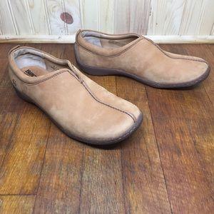 Born tan nubuck leather split toe slip on loafer